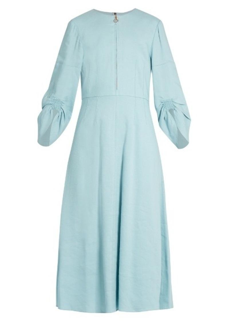 7c11f467c2 Tibi Tibi Marta ruched-sleeve linen-blend dress