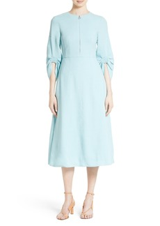 Tibi Marta Smocked Sleeve Linen Blend Midi Dress