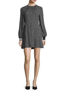 Tibi Martine Crewneck Printed A-Line Short Dress
