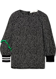 Tibi Martine silk-trimmed polka-dot crepe blouse