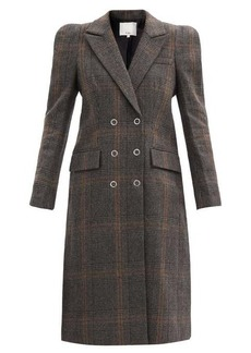 Tibi Mats padded-shoulder checked wool-blend coat