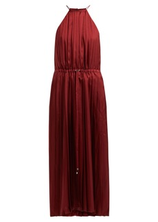 Tibi Mendini pleated satin midi dress