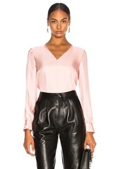 Tibi Mendini Twill V-Neck Buckle Back Top