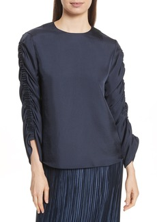 Tibi Menidini Twill Shirred Top