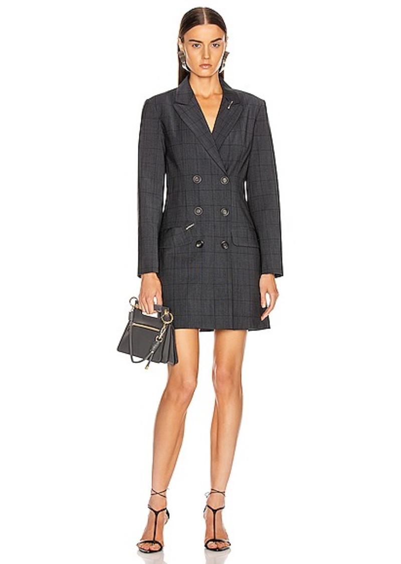 Tibi Menswear Windowpane Blazer Dress