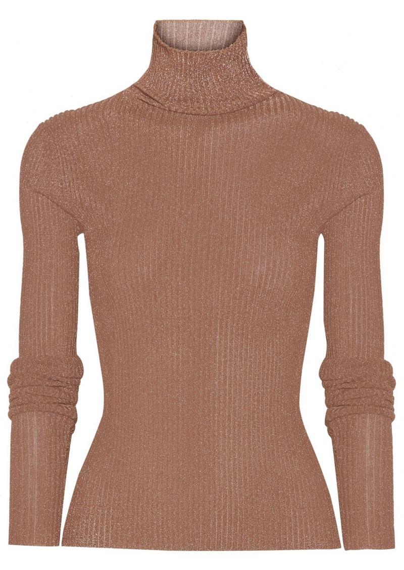 Tibi Tibi Metallic ribbed-knit turtleneck sweater | Sweaters ...