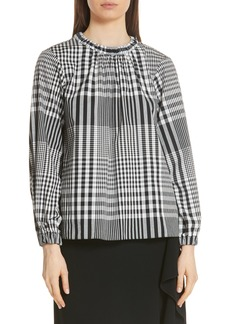 Tibi Mix Gingham Cotton Blouse