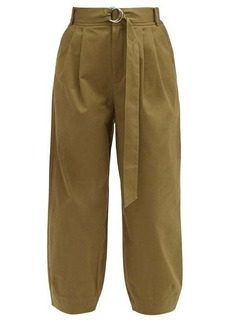 Tibi Myriam belted cotton-blend twill trousers