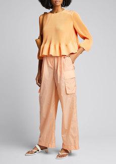 Tibi Nylon Pleated Cargo Pants