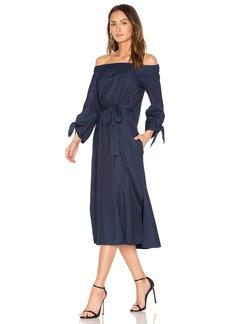 Tibi Off Shoulder Belted Midi Dress