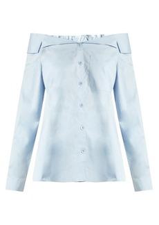 Tibi Off-the-shoulder button-through cotton top