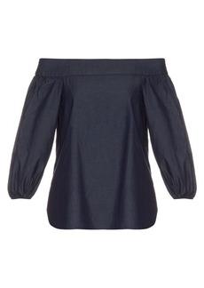 Tibi Off-the-shoulder cotton-denim top