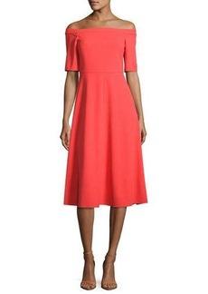 Tibi Off-the-Shoulder Crepe Midi Dress
