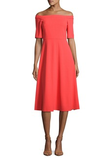 Tibi Off-the-Shoulder Crepe Midi Dress