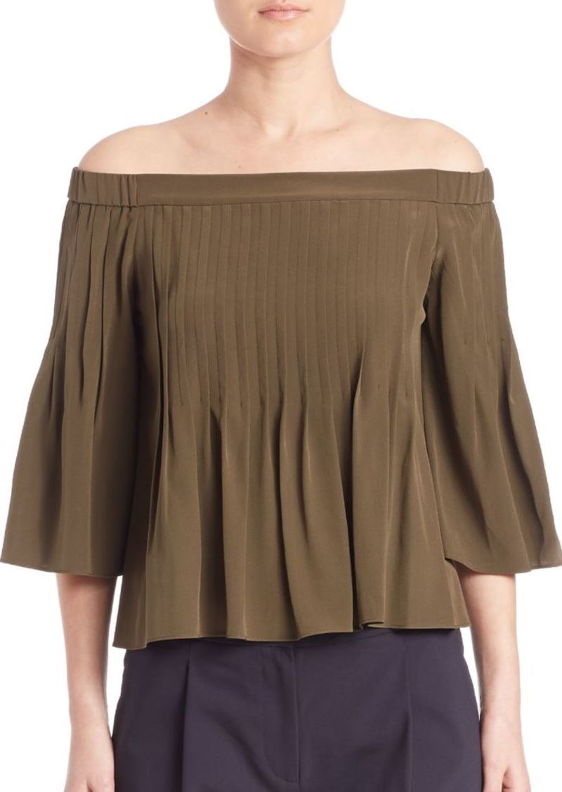 Tibi Off-The-Shoulder Pintucked Silk Top