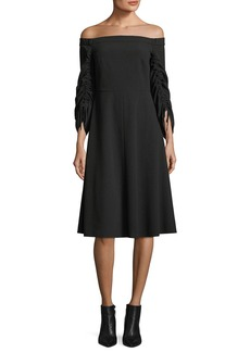 Tibi Off-the-Shoulder Ruched-Sleeves Crepe Midi Dress