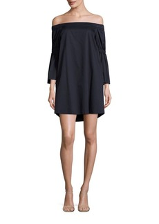 Tibi Off-The-Shoulder Bell Sleeve Poplin Dress