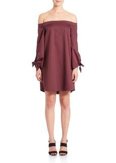 Tibi Off-The-Shoulder Tie Sleeve Dress