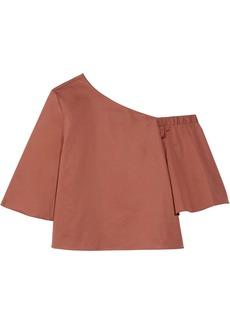 Tibi One-shoulder Cotton-poplin Top