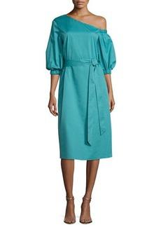 Tibi One-Shoulder Satin Poplin Midi Dress