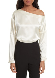 Tibi One-Shoulder Silk Top