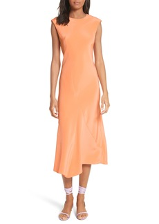 Tibi Open Back Bias Cut Silk Dress