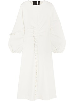 Tibi Open-back ruffled stretch-jersey midi dres