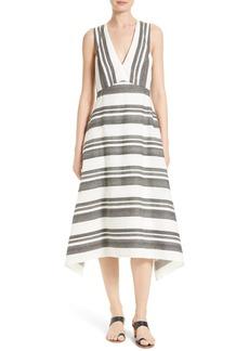 Tibi Organza Stripe Midi Dress
