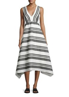 Tibi Organza Striped A-Line Midi Dress
