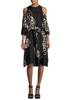Tibi Orla Bloom Cold-Shoulder Silk Midi Dress