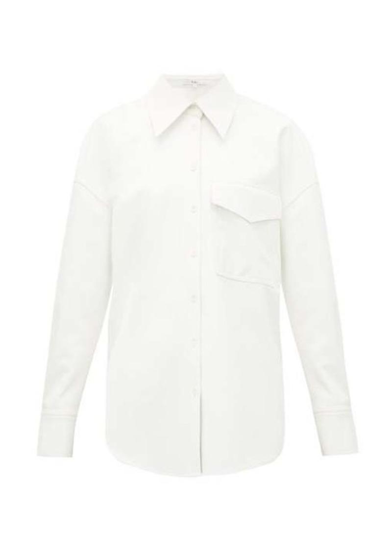 Tibi Oversized faux leather shirt