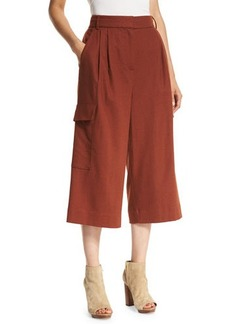 Tibi Owen Cropped Twill Wide-Leg Pants