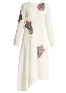 Tibi Paisley-patch tie-back silk dress