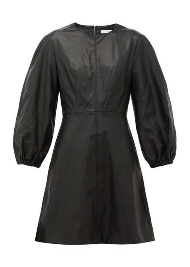 Tibi Panelled faux-leather mini dress
