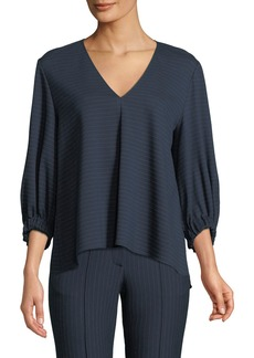Tibi Pinstripe Draped 3/4-Sleeve Top