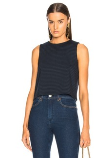 Tibi Pinstripe Knit Sleeveless Cropped Top
