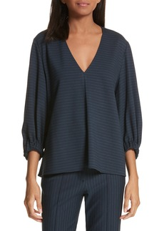 Tibi Pinstripe V-Neck Top