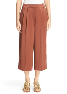 Tibi Pleated Crop Silk Pants