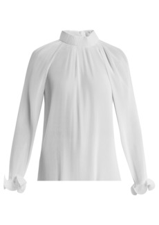 Tibi Pleated high-neck blouse