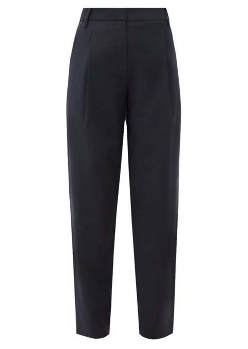 Tibi Pleated high-rise crepe trousers
