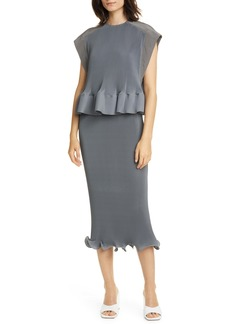 Tibi Pleated Peplum Midi Dress