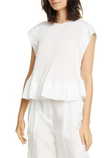 Tibi Pleated Peplum Top