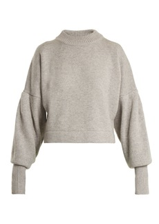 Tibi Pleated-sleeve cropped sweater