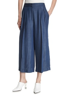 Tibi Pleated Wide-Leg Chambray Pants