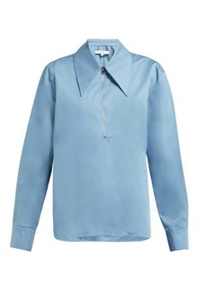 Tibi Point-collar cotton-sateen top