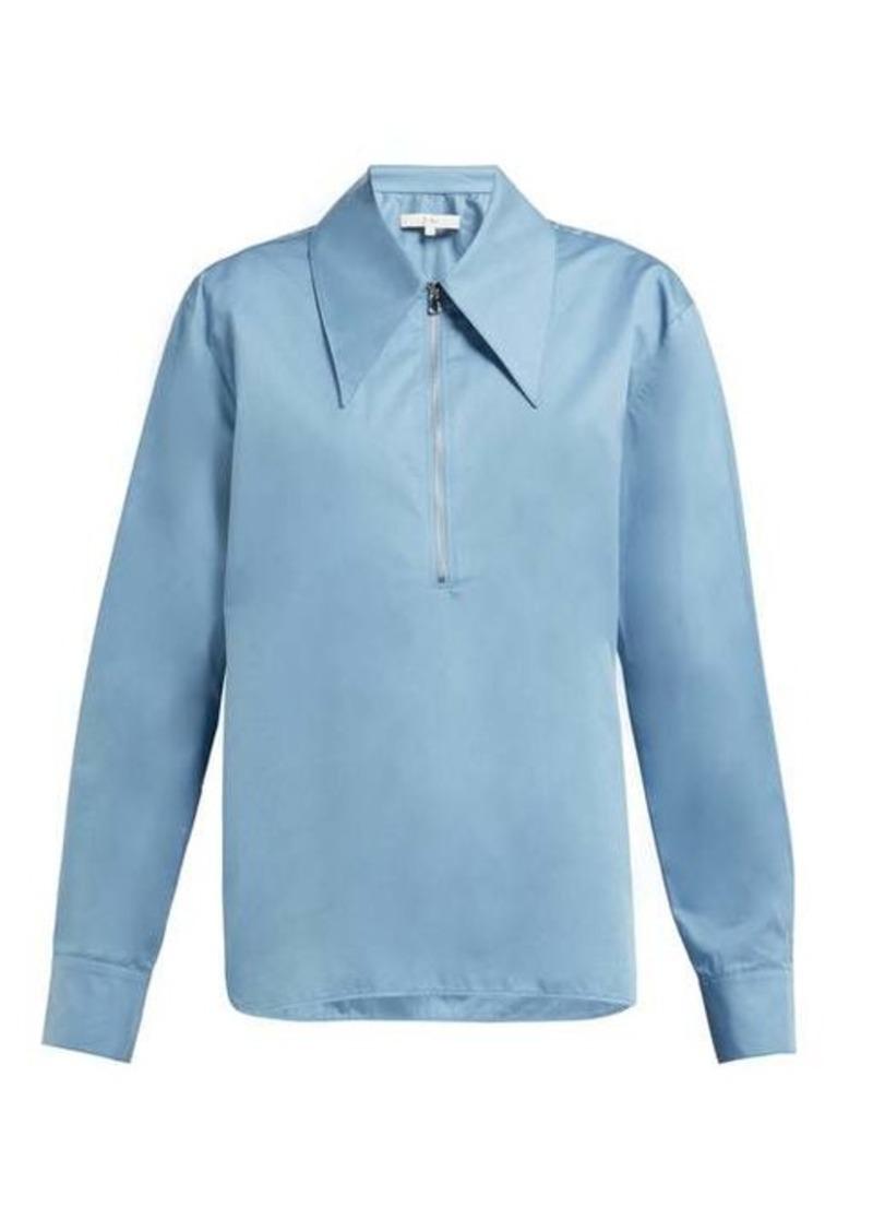 Tibi Point-collar cotton-sateen top