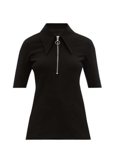 Tibi Point-collar crepe top