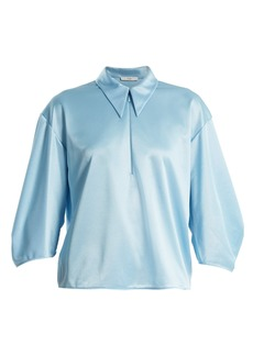 Tibi Point-collar zip-up satin top