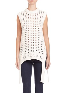 Tibi Pointelle-Knit Sleeveless Sweater