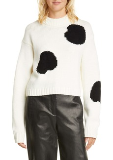 Tibi Polka Dot Intarsia Merino Wool Blend Sweater